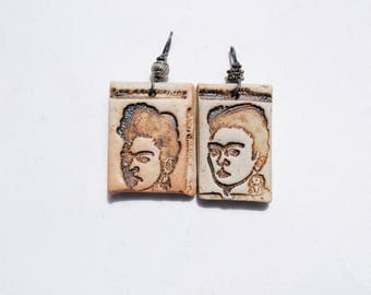 ceramic pendant Frida skeleton necklace skull pendant dia de los muertos