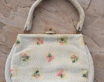 The Vintage Beige Lumured Corde Beaded Pink Rose Bag Purse