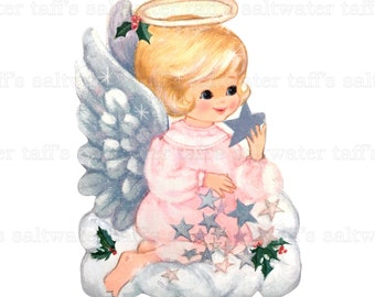 Pink Christmas Angel PNG No Background and JPG Digital Download vintage card holiday xmas christmas gift tags wings angel girl stars halo