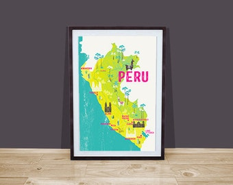 Peru Map Digital Art Print / Peru Map Wall Art / A4 print / Fathers Day Gift / Travel Memento