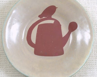 Ceramic Bowl with Bird Decal Stoneware Pottery Reduced Price Ready to Ship