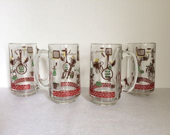 Tall Glass Mugs, Set of Four