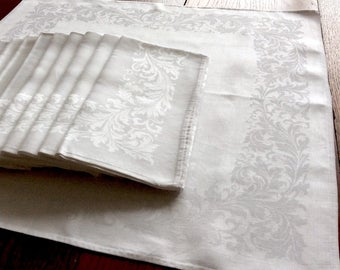 12 Large Damask Irish Linen Napkins 22 Inches