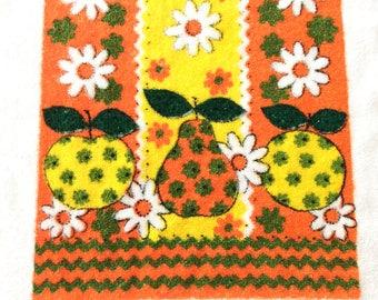 Terry Cloth Kitchen Towel Orange Yellow Fruit