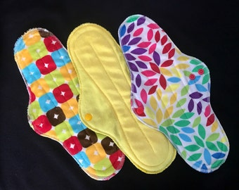 """12"""" Extra-long Heavy Flow Reusable Cloth Pad Trio~ Prism, Ducky, and Garnet Minky ~ by Talulah Bean"""