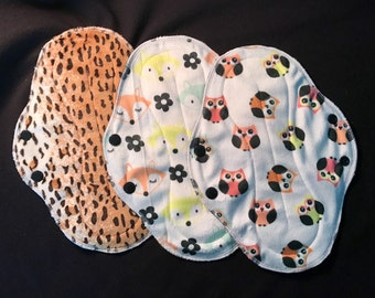 """10"""" Heavy Flow Reusable Cloth Pad Trio ~ Cheetah, Tiny Owl, and Floral Foxes Minky ~ by Talulah Bean"""