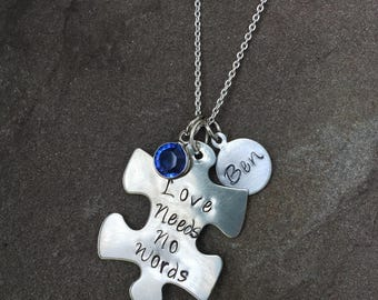 Autism awareness sterling silver personalized necklace monogram name love needs no words autism speaks