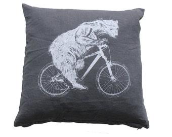 Polar Bear on a Bicycle - Throw Pillow