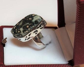"Old Handmade Ring, Marked .925 Cabochon Natural Molted Bezel Set  Jasper Size 6 1/2 Vintage design 1"" x 1/2"" Unique one of this kind"