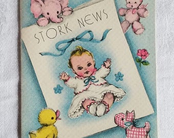 9 Vintage Baby Announcement Cards