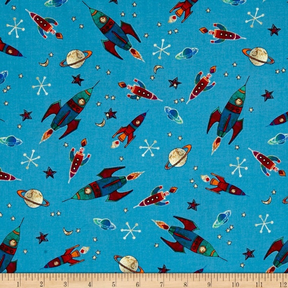 To the moon fabric by michael miller teal retro rockets for Retro space fabric uk