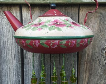 Painted Pansies--Vintage Teapot given new life as a Wind Chime
