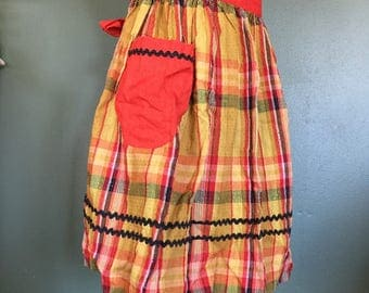 Vintage Plaid Red/Orange and Black Half Apron with Pocket, Swiss Dot Fabric - Retro Hostess