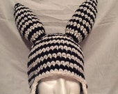Custom listing for fatmaggot - black and white striped hat with ear flaps and spikes -  teen to adult size