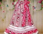 Girls Dress 4T/5 Pink White Flower Floral Boutique Pillowcase Dress, Pillow Case Dress, Sundress