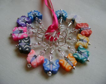 Polymer Clay Butterfly Stitch Markers for Knitting or Crochet