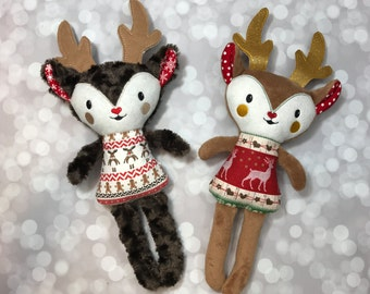 Christmas Reindeer Softie / Christmas Reindeer Doll / Stuffed Reindeer / Plush Toy / Christmas Decoration / Christmas Decor / Ready to Ship