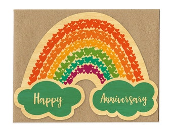 Anniversary Rainbow - Real Wood Anniversary Card - Happy Anniversary - 5 Year Anniversary - WC1389
