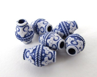 Blue White Barrel Beads Flower Motif Carved Effect Large Hole Plastic Floral 18x12mm vpb0183 (6)