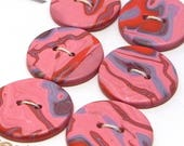 Handmade Round Buttons Red Pink and Blue Polymer Clay 22mm