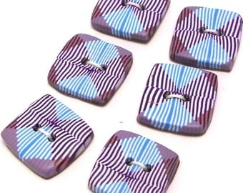 Handmade Square Buttons Purple and Blue 15mm