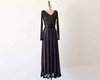 Vintage 1990s Newport News Long Black Mesh Ballerina Dress - S/4