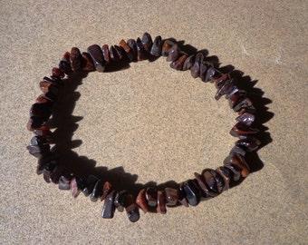 Red Tiger Eye Bracelet, Gemstone Chip Beads on Elastic Cord, Prosperity Stone, Good Luck Stone, Confidence Stone, Public Speaking