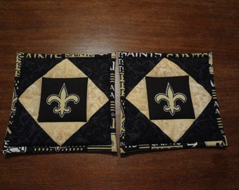 New Orleans Saints- quilted potholders- pair