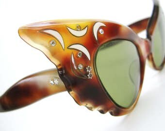 Vintage French 50s Cat Eye Pointy Wild Sunglasses Frames