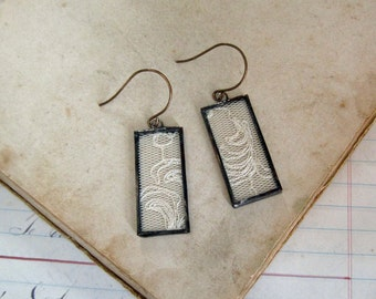 Lace Earrings  Long Drop Soldered Jewelry