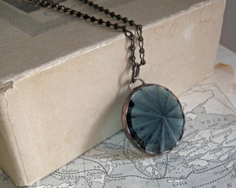Fluted Glass Jewel Long Necklace Steel Blue Jewelry