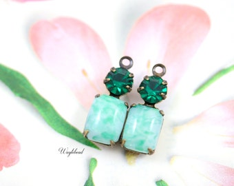 Jade Marble & Emerald Connector Link Bar Set Stones 16x6mm Vintage Octagon Earring Charms 1 Ring Antique Brass Prong Settings - 2