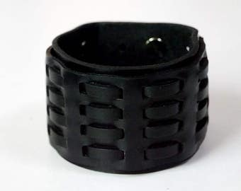 Woven Black Leather Cuff Leather Bracelet Leather Wide Cuff