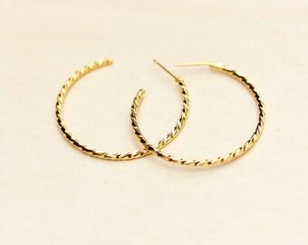 Thin Gold Twist Hoop Earrings