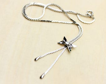 Silver Bow Necklace, Bow Necklace, Bow Tie Necklace, Silver Charm Necklace, Bow, Bow Tie, Silver Charm Necklace