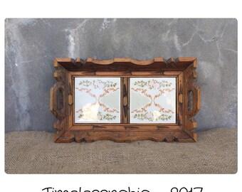 Vintage Wood Tray - Wood Tray - Vanity Tray - Perfume Tray - Wooden Tray -  Decorative Tray - Carved Wood Tray - Tiled Tray - Small Tray -