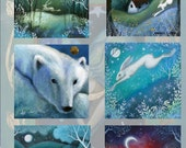 A set of 6 Artist made greeting cards. Christmas cards, Winter Wonderland, Reproduced from paintings by Amanda Clark.