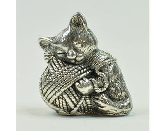 Pin Cushion - Kitten Pin Cushion - Sterling Silver