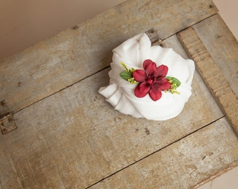 Stretchy White Fabric Baby Wrap and Red Flower Tieback Headband - newborn baby photo prop