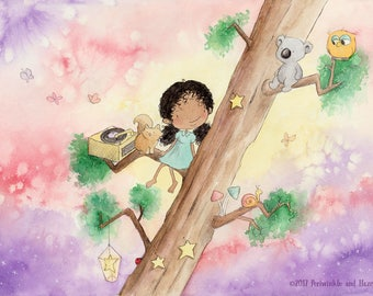 The SOUND Of The SUN SETTING - African American Girl in Tree with Cat and Koala - Fine Art Print