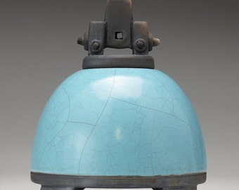 Turquoise blue Crackle Ceramic Raku Jar, Art Pottery,Jar, Lidded jar, handmade,small urn