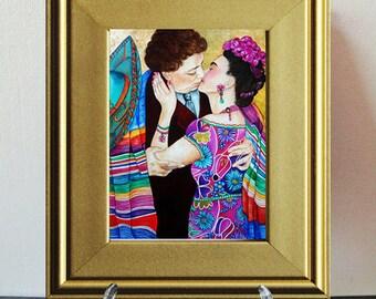 Frida Kahlo, Frida Kahlo Print, Miniature Print, Gold Picture Frame, Frida Kahlo, Wall art, Home Decor