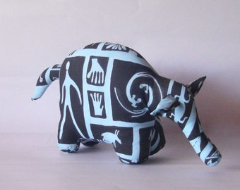 Aardvark anteater stuffed animal silk screened cotton denim blue hand painted wildlife african theme decor