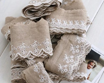 Embroidered Linen Lace - White Eyelet Embroidery Floral Snowflake Wave On Beige (1 Yard, Choose Pattern)