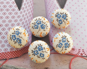 Lovely Shabby Chic Blue Orange Soft Little Wild Sunflower Flowers Floral Garden - Handmade Fabric Covered Buttons(0.75 Inches, 5PCS)