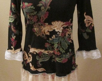 Upcycled black floral tunic dress refashion sz S vintage lace ruffles