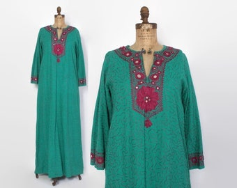 Vintage 70s Ethnic DRESS / 1970s Ramona Rull Kuchi Mirrored Embroidered Caftan Maxi