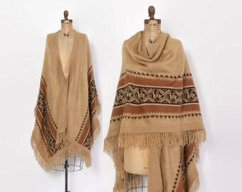 Vintage 70s Alpaca PONCHO CAPE / 1970s Soft Shaggy Alpaca Striped Fringe Knit Poncho