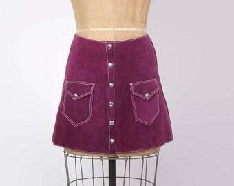 Vintage 60s Suede MINI SKIRT / 1960s A-Line High Waist Plum Leather Hippie Skirt