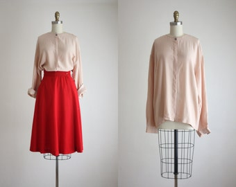 blush silk blouse
